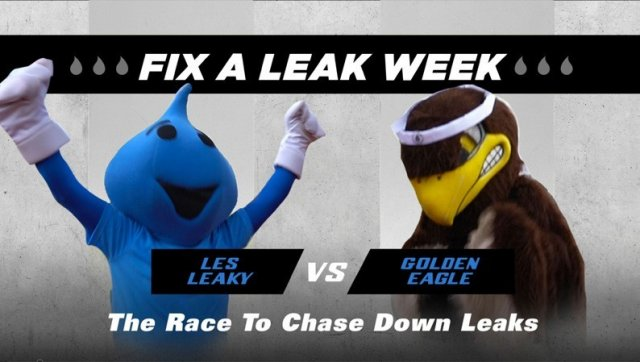 Fix a Leak Week race mascots.