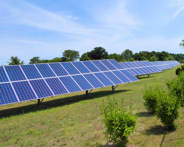 Ground-mounted solar installation at the Davisville Naval Construction Battalion Center (NCBC) site in North Kingstown, Rhode Island.