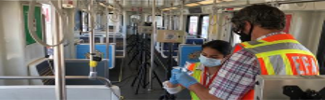 Interior of a public transit vehicle with scientists testing disinfection practices