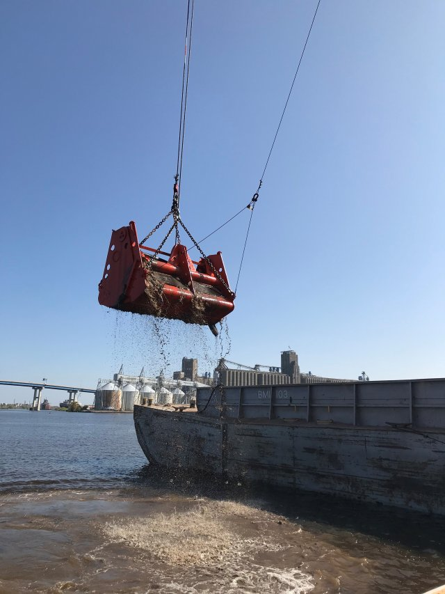 Photo of dredge removing sediment in the Great Lakes