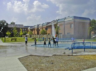 East Russell Partnership: Children Playing in Water Fountain