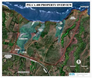 Aerial overview of Pila'a property showing locations of Guluch 2, Gulch 3, Pila'a Stream, and Eastern Plateau where stabilization and restoration work will be done.