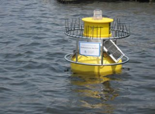 Water monitoring buoy in the Charles River near the Museum of Science.