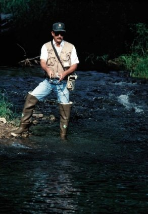 Man in waders fishing