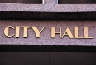 City Hall sign represents municipalities working to implement green infrastructure