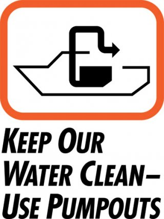 "Pumpout sign with caption ""Keep Our Water Clean - Use Pumpouts"""
