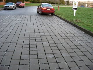 Cars parked on permeable pavement