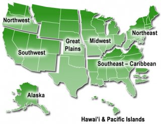 US Map of National Climate Assessment Regions