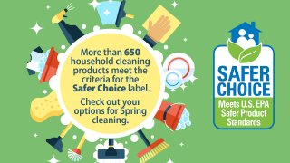 cartoon cleaning supplies in a circle and the Safer Choice label