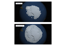 Two maps that compare the extent of Antarctic sea ice in February 2015 and October 2015.