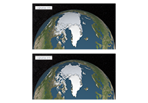 Two maps that compare the extent of Arctic sea ice in September 1979 and September 2015.