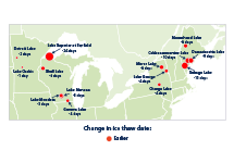 Map showing changes in the timing of thawing at 14 U.S. lakes between 1905 and 2015.
