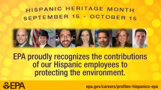 Hispanic Heritage Month is September 15 - October 15. EPA proudly recognizes the   contributions of our Hispanic employees to protecting the environment. Hispanic Heritage   Month is September 15 - October 15. EPA. epa.gov/careers/profiles-hispanics-epa