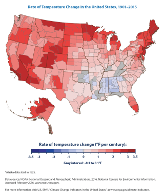 This figure shows how annual average air temperatures have changed in different parts of the United States since the early 20th century (since 1901 for the contiguous 48 states and 1925 for Alaska). Source: US EPA (2016).