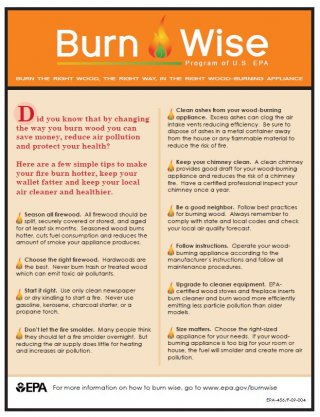 burn wise tip sheet