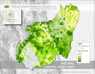 This map shows the South Platte Watershed shaded in by Natural Asset rank
