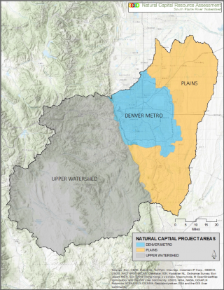 this map shows the three sections of the South Platte Watershed: the upper watershed, the Denver Metro, and the Plains