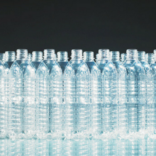 Group of clear plastic water bottles