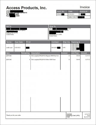 Gallery Image 6: Invoice of toner order