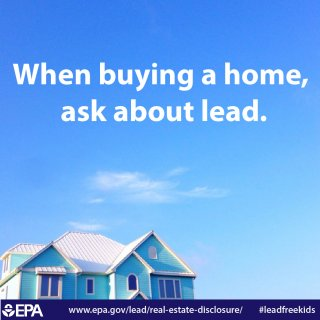 When Buying a Home, Ask About Lead Infographic (Blue Background Picture)