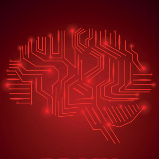 Brain on red background