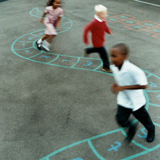 Children in line on hopscotch