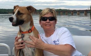 EPA researcher Marsha Morgan and her dog Jesse.