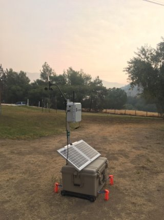 EPA's low-cost sensor package deployed at the Alder Fire in California.