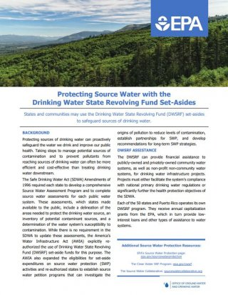 Screenshot of the Protecting Source Water with the DWSRF Set-Asides fact sheet