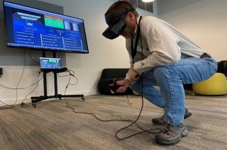 EPA Researcher Leroy Mickelsen checks out the VR training tool