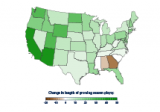 Map showing the changes in the length of the growing season for the contiguous 48 states from 1895 to 2015.